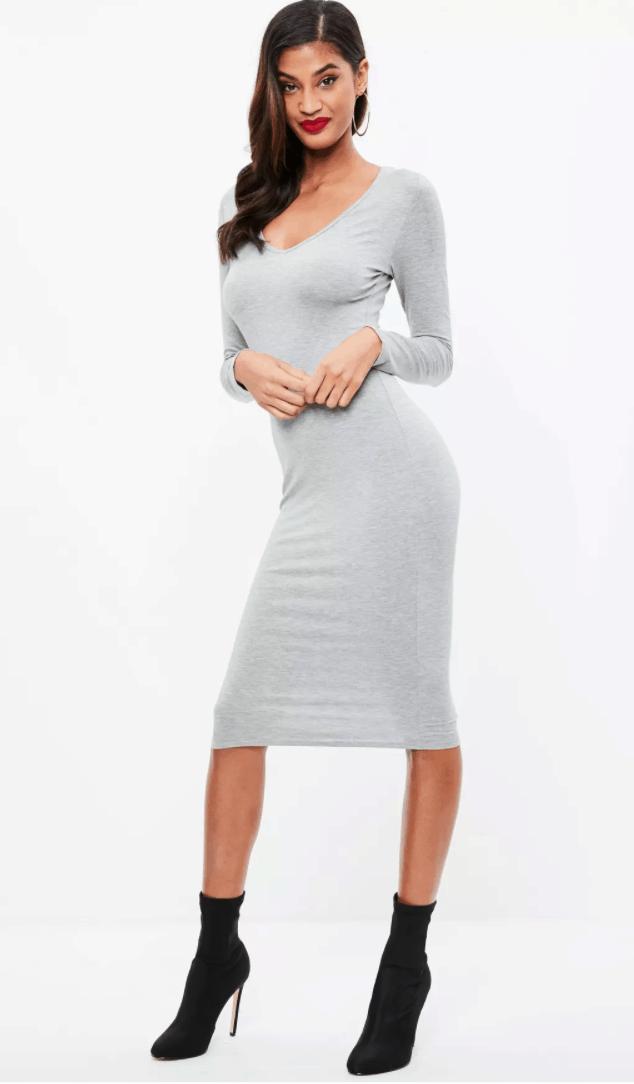 Grey long sleeve midi dress.
