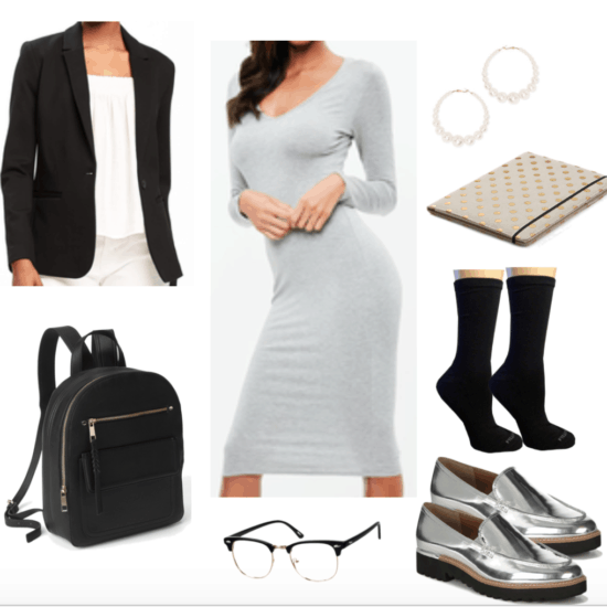 Grey midi dress for a preppy chic vibe.
