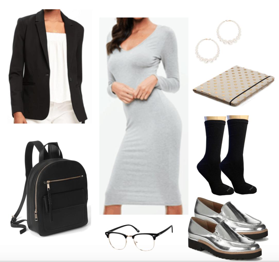 Grey midi dress for a preppy chic vibe.