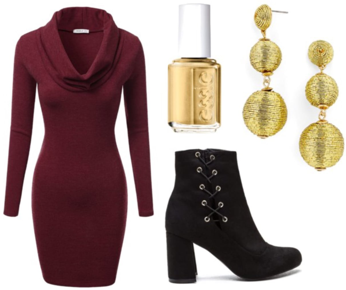How the Grinch Stole Christmas Outfit 1: Cowl neck sweater dress, lace-up boots, statement earrings, gold nail polish