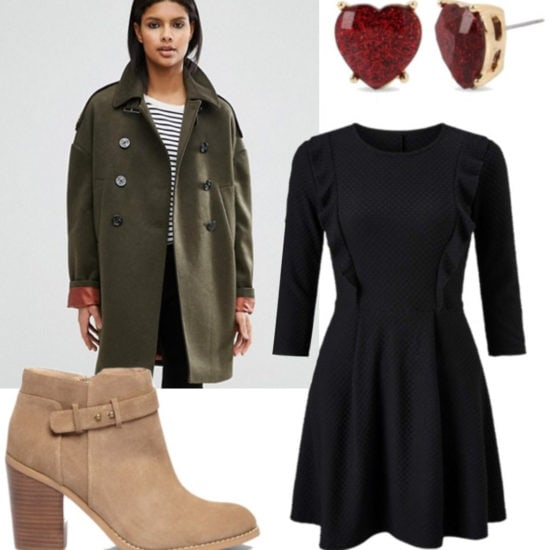 Outfit inspired by How the Grinch Stole Christmas: Black dress, oversized green pea coat, suede ankle booties, red heart earrings