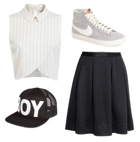 Outfit inspired by Exo - hat, midi skirt, sneakers, cropped tank