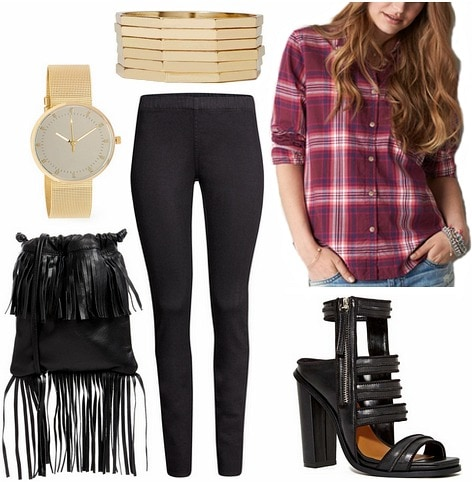 Grunge back to school outfit plaid shirt, leggings, and a fringed bag