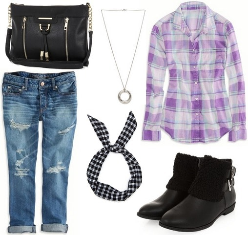Grunge back to school outfit with a plaid shirt, boyfriend jeans, and ankle boots