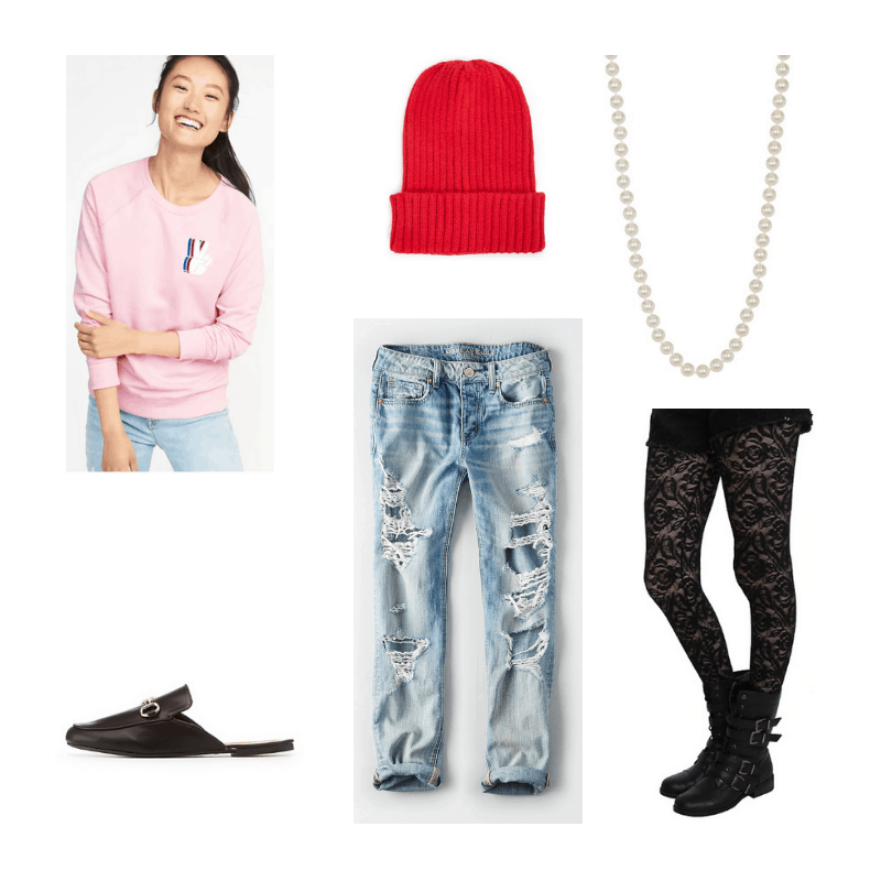 Outfit with pink sweatshirt, red beanie, pearl necklace, ripped jeans, rose lace tights, and black mules