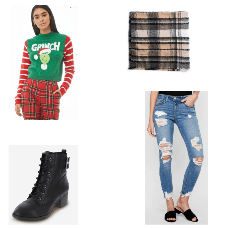 Grunge-inspired outfit with grinch sweater, ripped jeans, combat boots, and plaid scarf