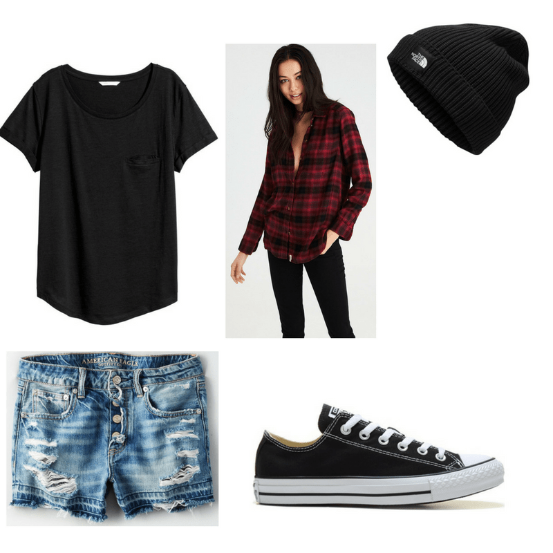 Grunge finals outfit with black tee, denim shorts, plaid shirt, beanie, and Converse sneakers