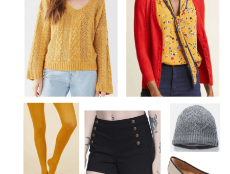 Hogwarts fashion: Gryffindor outfit with mustard yellow sweater, red cardigan, yellow tights, gray hat, black shorts, flats