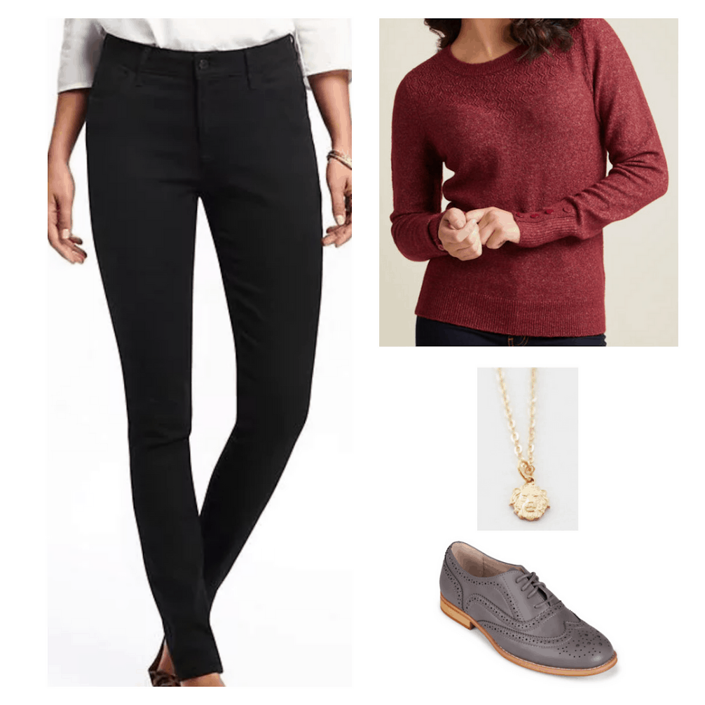 Hogwarts outfit inspired by Gryffindor: Black jeans, red sweater, gold necklace, oxfords