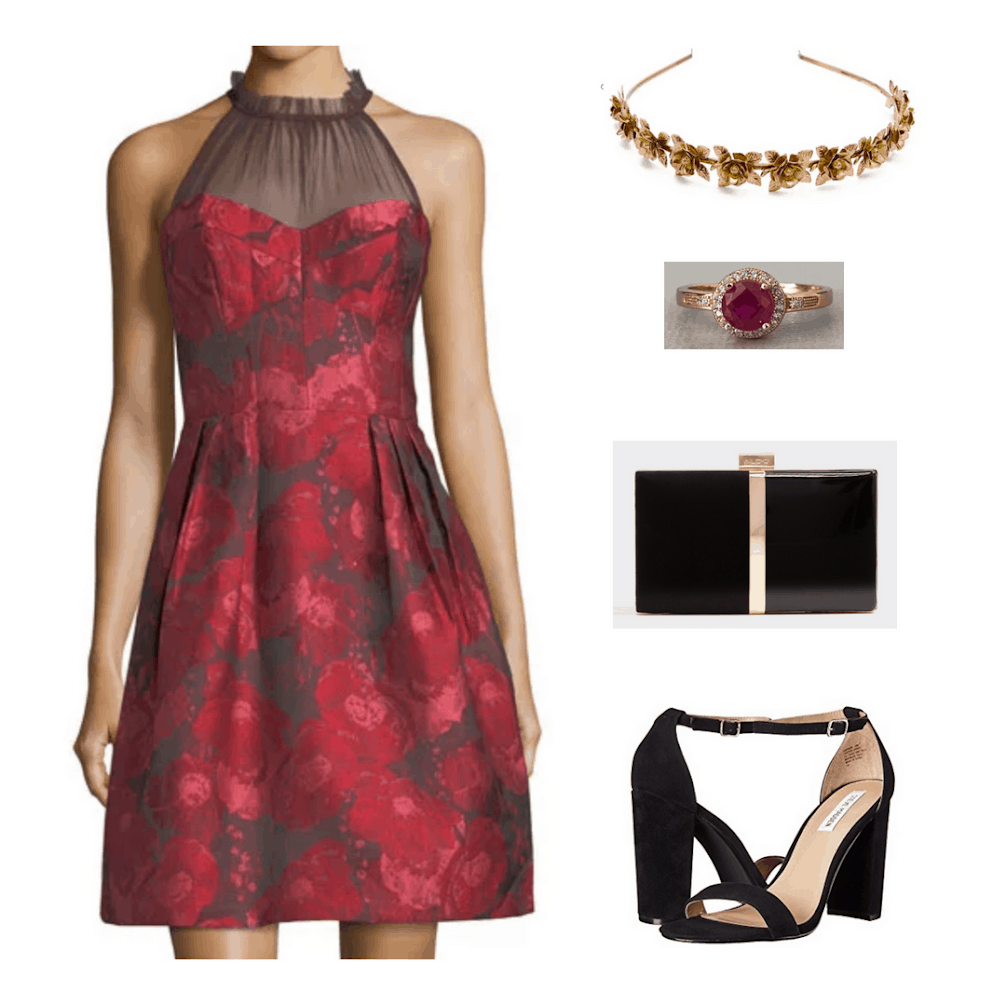 Gryffindor formal outfit: Red dress, gold headband, black and gold clutch, red ring, black strappy sandals