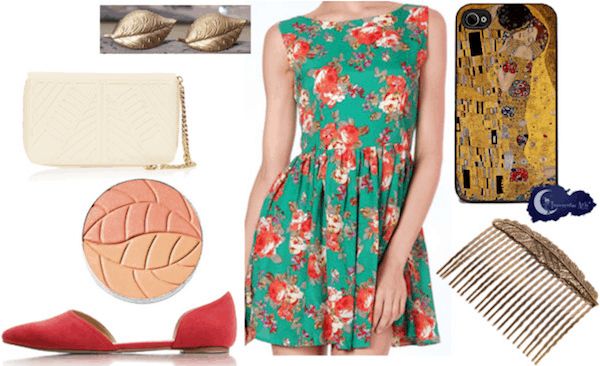Gustav klimt floral dress outfit