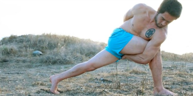 Guy doing a lunge pose