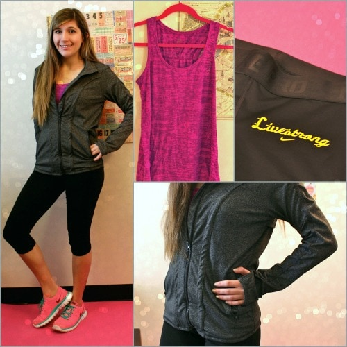 Gym outfit fitted capris long tank jacket