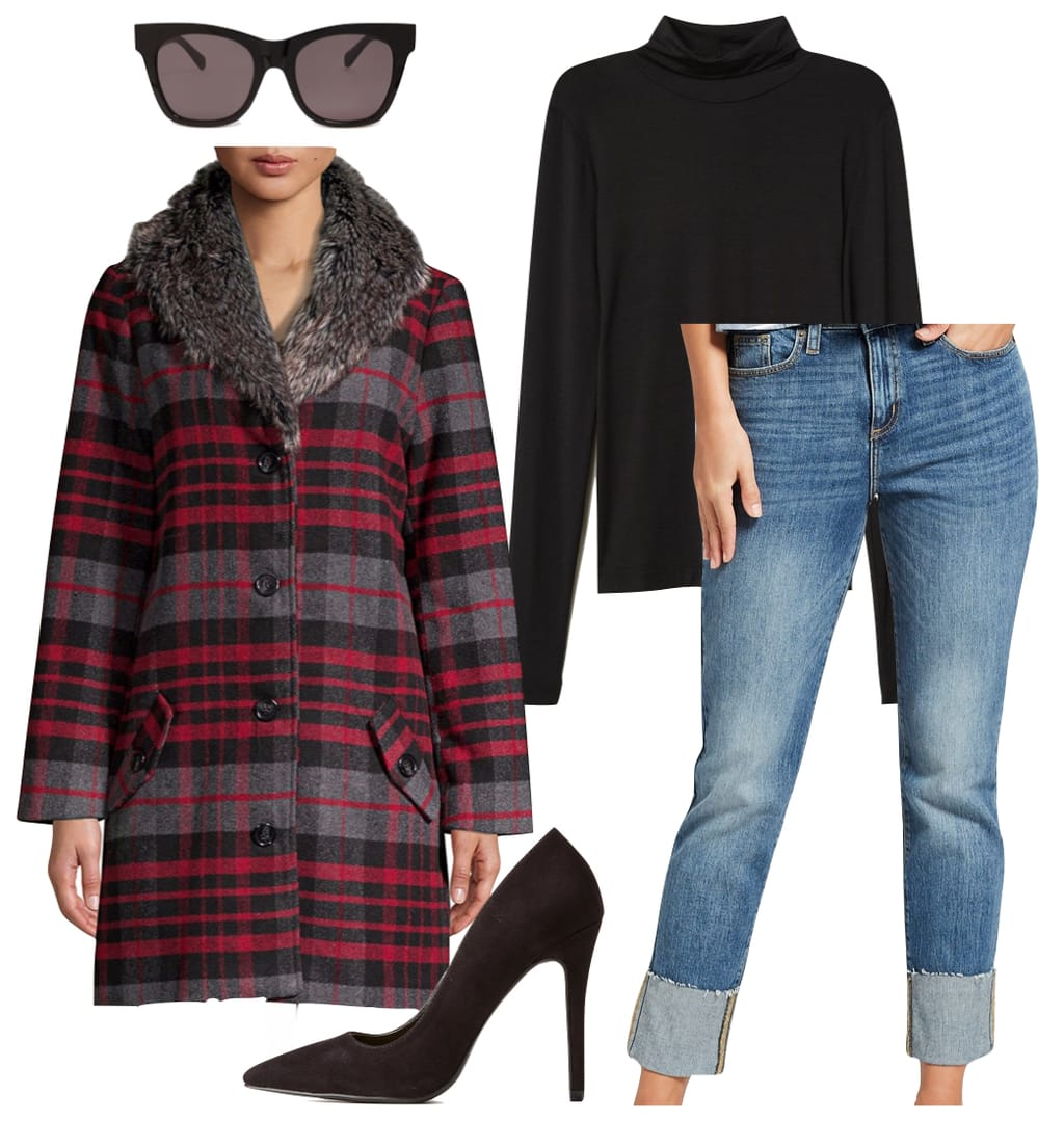 Hailee Steinfeld Outfit: black turtleneck top, high cuff jeans, plaid coat with a faux fur collar, square black sunglasses, and black pointy toe pumps