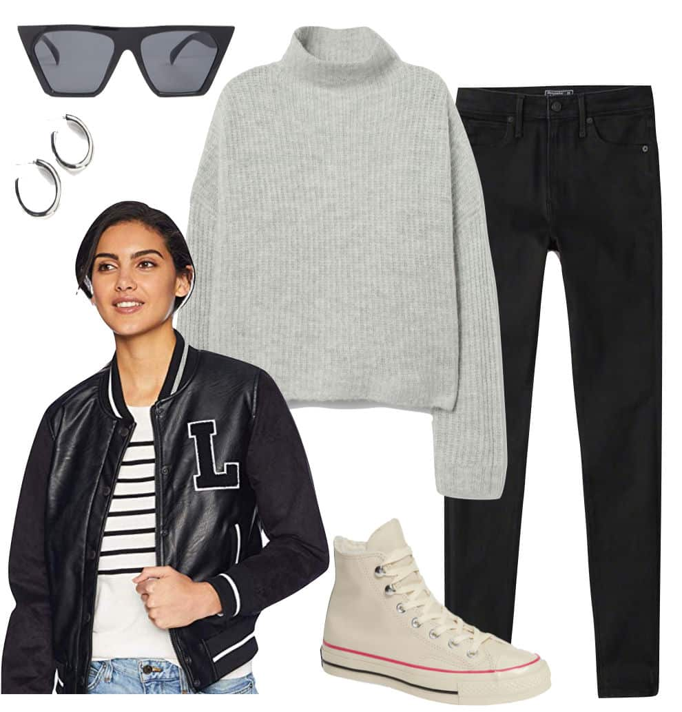 Hailey Baldwin Outfit: gray mock neck sweater, black skinny jeans, black flat-top square sunglasses, silver chunky hoop earrings, black letterman bomber jacket, and cream high-top sneakers