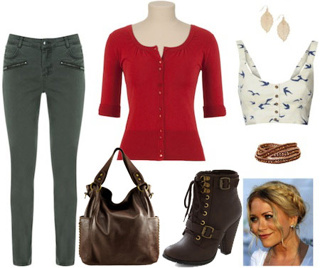 Outfit inspired by Haley from Modern Family - Green skinnies, white floral tank, cardigan, lace-up booties, shoulder bag