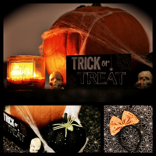 Halloween decor trick or treat sign pumpkin candle orange bow skulls