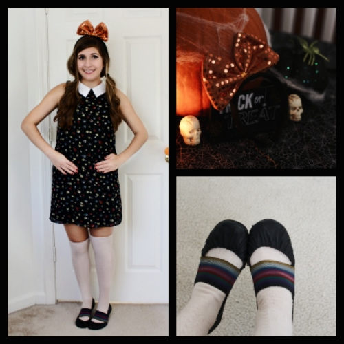Halloween doll white collar black dress thigh socks orange bow ballet flats collage