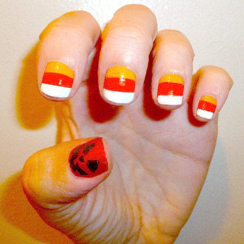 Halloween nail art: Candy corn and jack-o-lantern