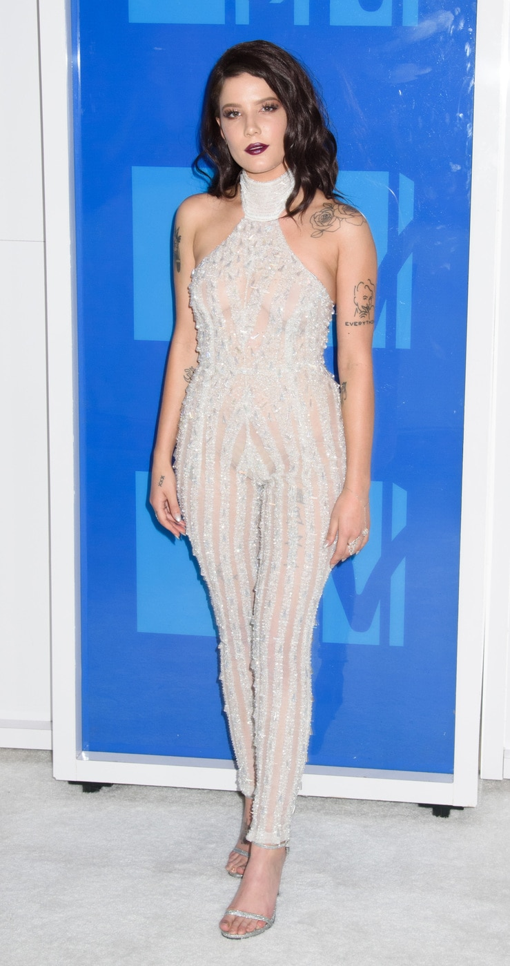 Halsey at the 2016 MTV VMAs in a sheer bodysuit with sparkles