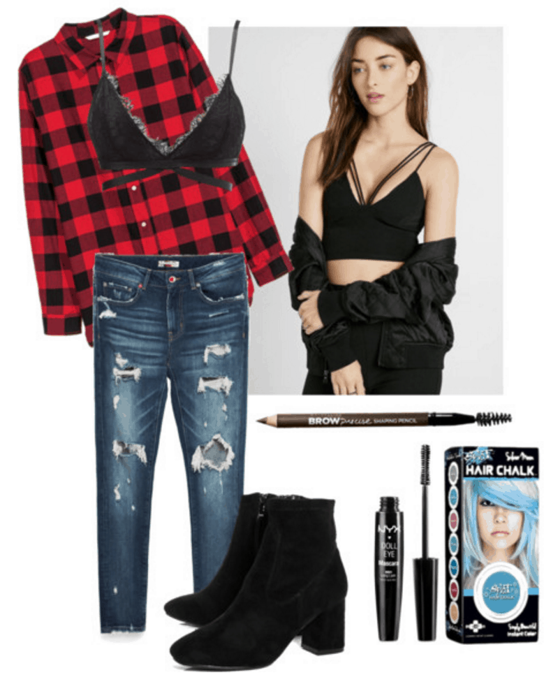 Outfit inspired by Halsey: Flannel, bralette, jeans, boots.