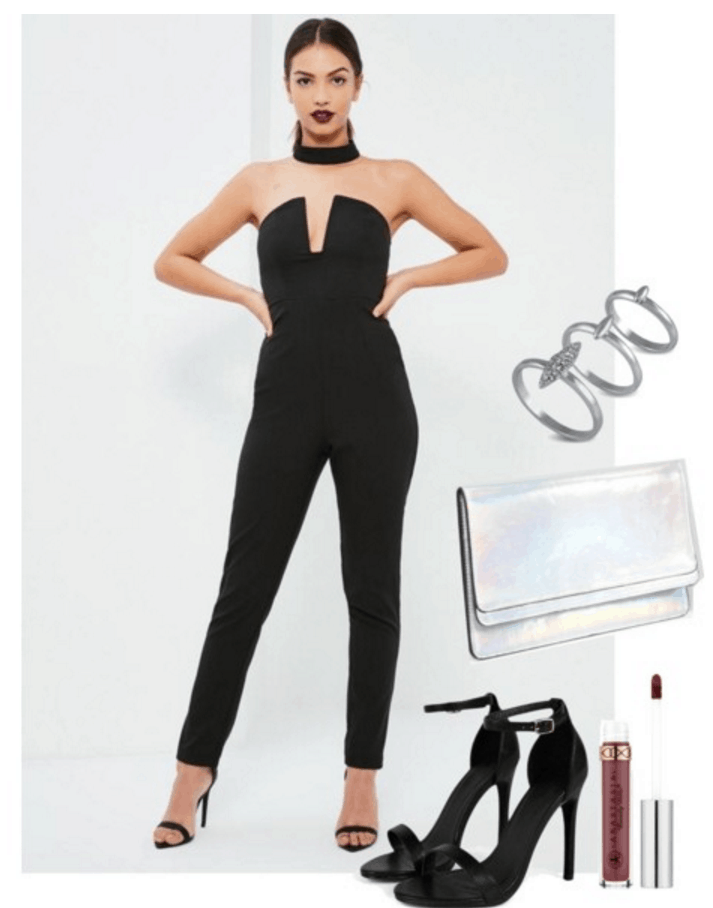 Outfit inspired by Halsey: Black jumpsuit, heels, holographic clutch.