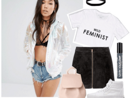 Outfit inspired by Halsey: Holographic jacket, wild feminist tshirt, zip-front suede skirt.