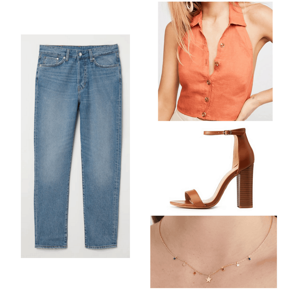 Outfit inspired by Melissa Joan Hart's outfits in the '90s: Mom jeans, coral halter top, chunky heels, charm necklace