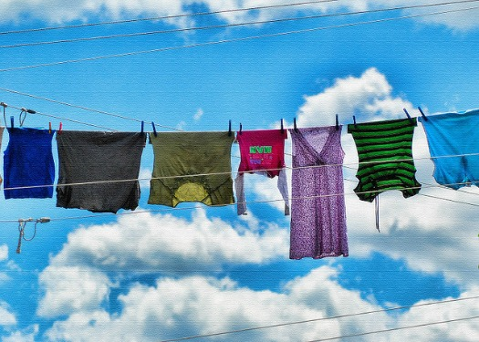 Hanging laundry out to dry