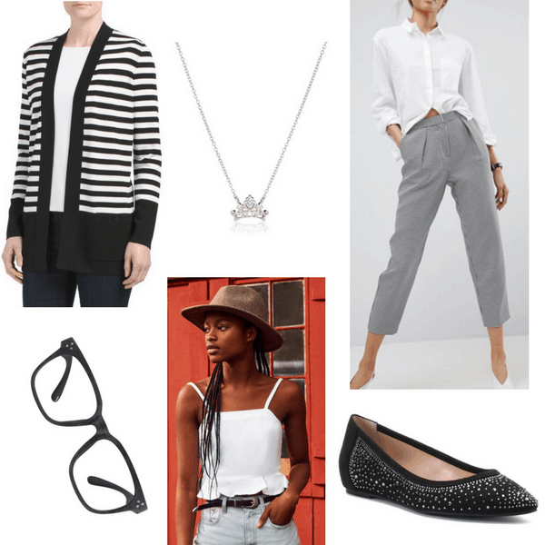 Hanna Marin from PLL x Amy from The Big Bang Theory Outfit 3: Gray cropped pants, stripe cardigan, glasses, white ruffle tank, glitter flats