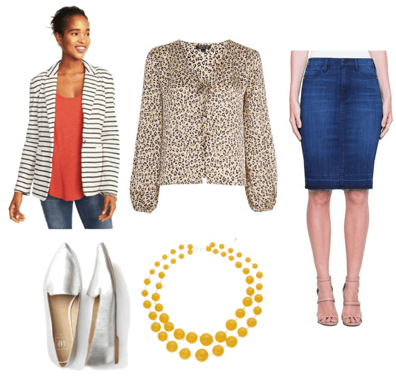 Hanna Marin and Amy Farrah Fowler inspired look with leopard print top and denim skirt