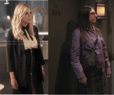 Hanna Marin in a lace top and zip-front skirt and Amy Farrah Fowler in a purple jacket and plaid skirt