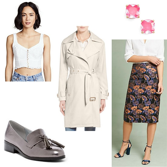 Hanna Marin x Amy Fowler outfit: White lace crop top, purple floral pencil skirt, trench coat, silver loafers, pink stud earrings