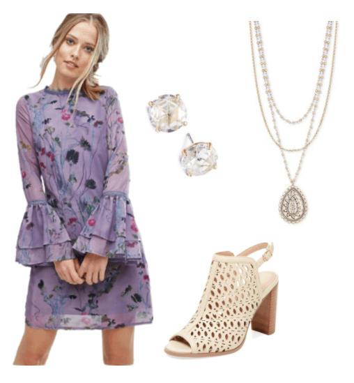 Hannah Wright Outfit Inspiration: flared sleeve lace purple floral dress, crystal stud earrings, triple layered pendant, cream open-toed, slingback bootie