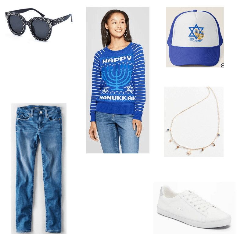 Outfit with blue Hanukkah sweater, star studded sunglasses, Hanukkah baseball cap, skinny jeans, white sneakers, and star charm necklace