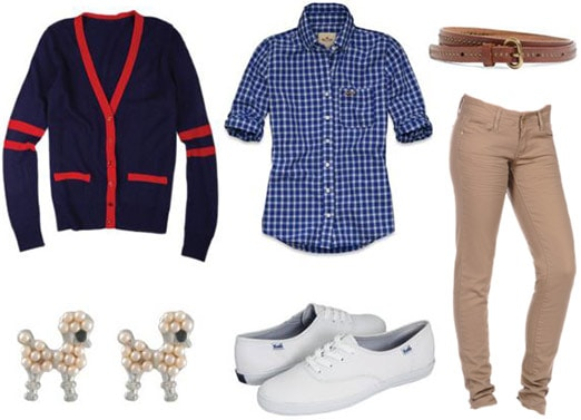 Outfit inspired by Happy Days: Khaki jeans, white sneakers, poodle earrings, varsity cardigan, plaid shirt, belt