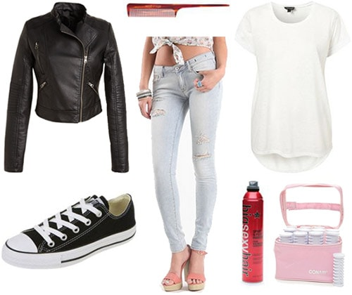 Outfit inspired by Happy Days: Light wash skinnies, white tee, motorcycle jacket, converse sneakers, hairspray and rollers