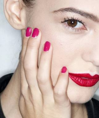 Red Lipstick Pink Nails