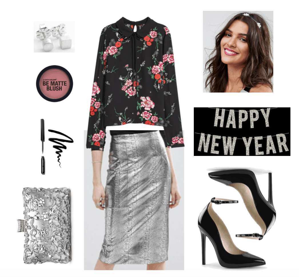 Chic silver New Year's Eve outfit.