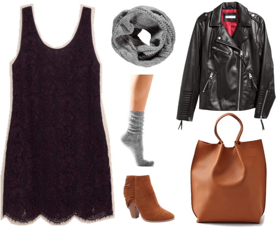 """Ask CF: How Do I Make My Hard-to-Style Dresses Appropriate for Everyday Wear?"" outfit #3 featuring deep purple sleeveless lace dress, chunky gray infinity scarf, slouchy gray socks, fringed cognac-brown heeled ankle boots, black motorcycle jacket, and cognac-brown tote"
