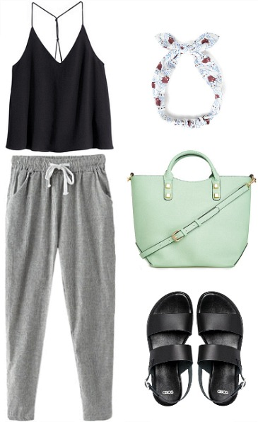 Harem pants, black top, sandals, headband