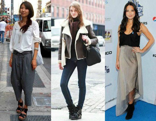 Harem pants, wedge sneakers, asymmetrical hemlines
