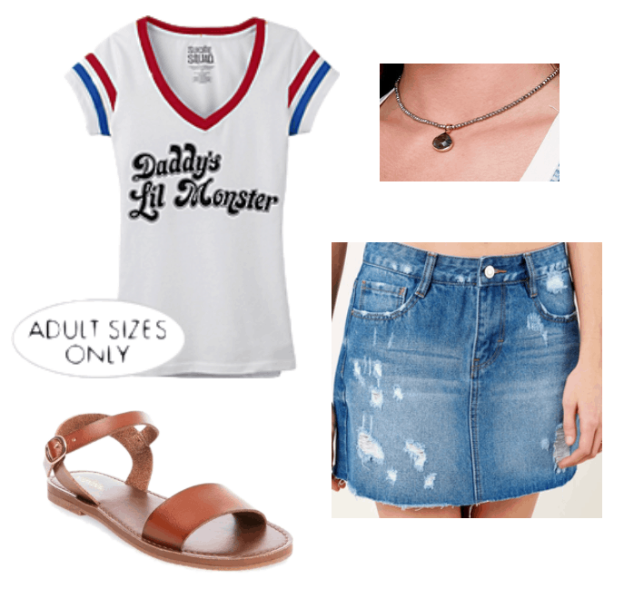 How to repurpose a halloween costume: Harley Quinn Daddy's Lil Monster tee shirt paired with a choker necklace, distressed denim mini skirt, brown sandals