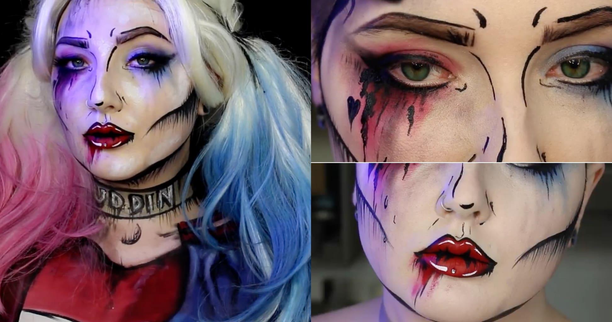 Easy Halloween makeup ideas: Pop art Harley Quinn