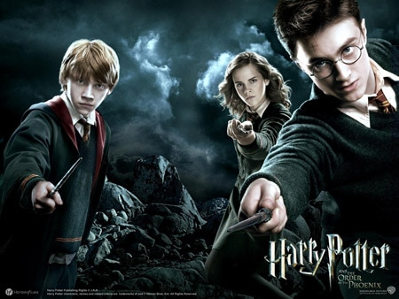 Harry Potter characters - Ron, Hermione, and Harry Potter