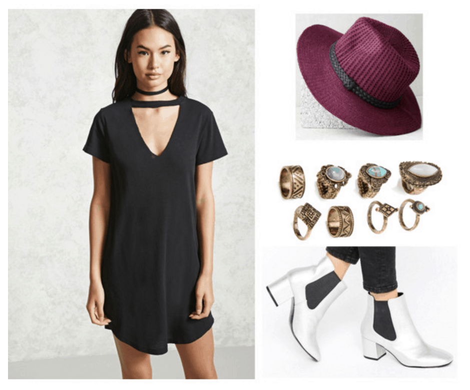 Black dress, red hat, rings, silver boots