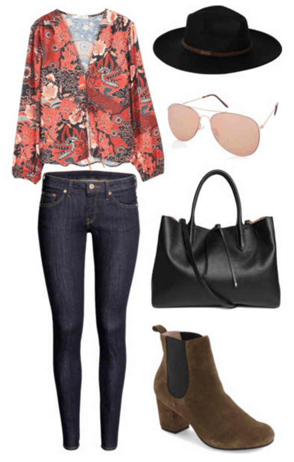 Printed blouse, jeans, Chelsea boots