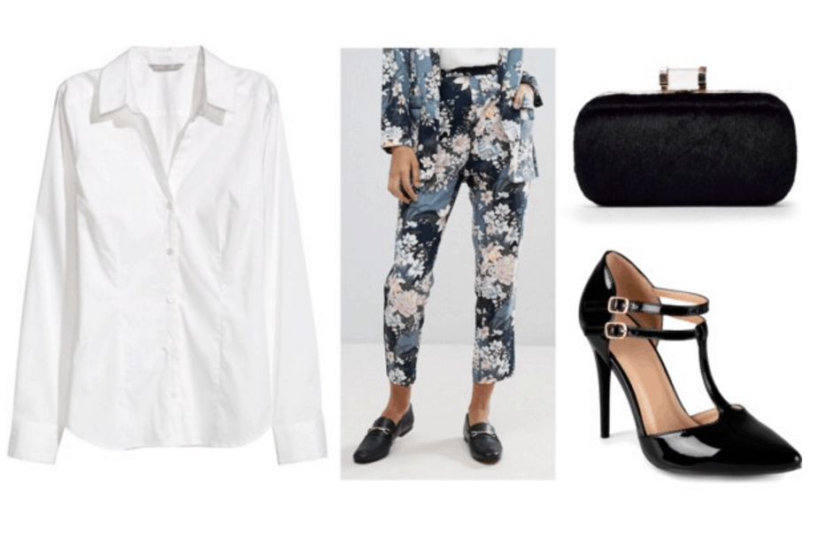 White top, floral pants, clutch, heels