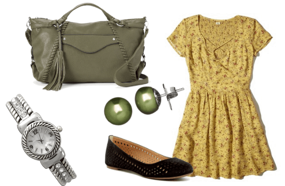 Outfit inspired by Rebecca Bunch on Crazy Ex Girlfriend tv show: yellow babydoll dress, cutout black flats, olive green bag, olive stud earrings, silver watch