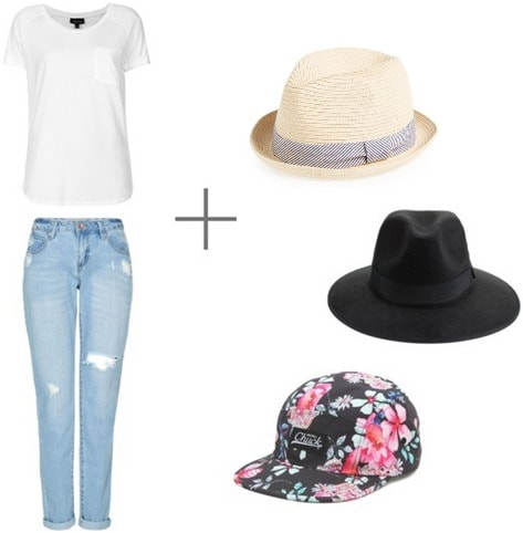 Hats white tee and jeans look